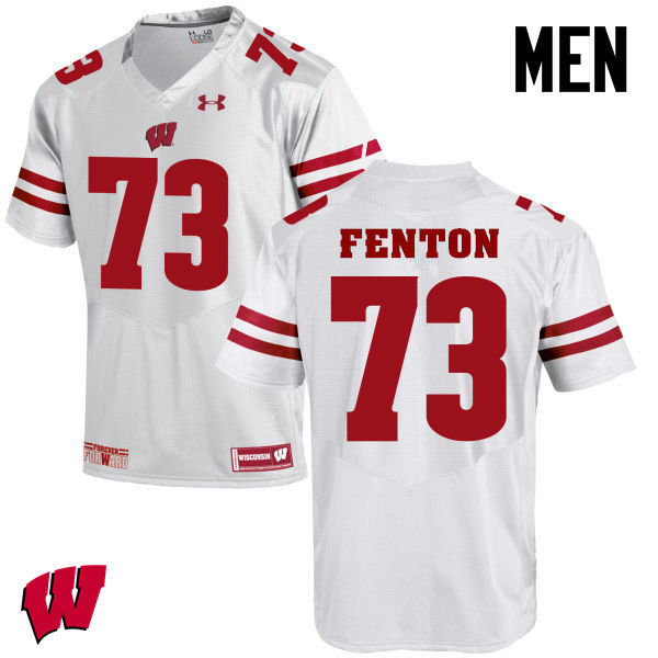 Men Winsconsin Badgers #73 Alex Fenton College Football Jerseys-White